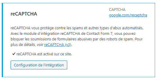 Wordpress Contact Form 7 Intégration Google Captcha Version 3