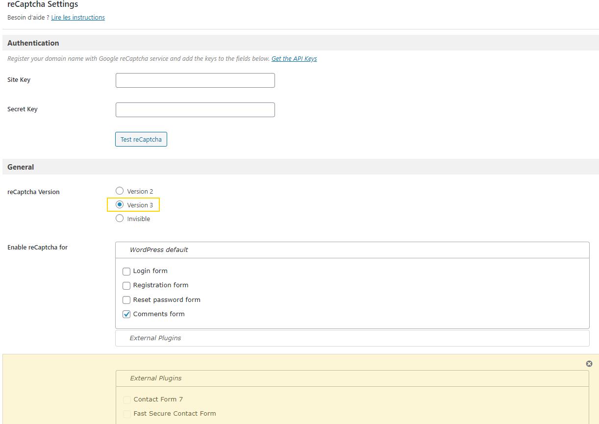Paramétrage de l'extension Wordpress recaptcha